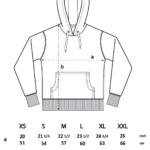 Hoodie sizing diagram