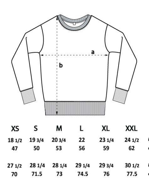 Sweatshirt sizing diagram