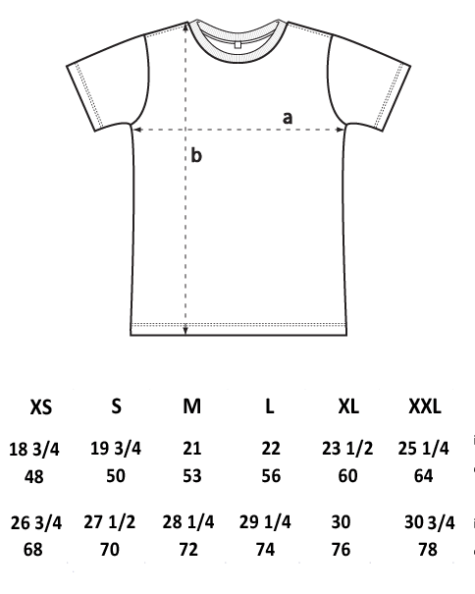 T-Shirt sizing diagram