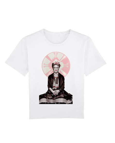White Frida Kahlo Crop Top