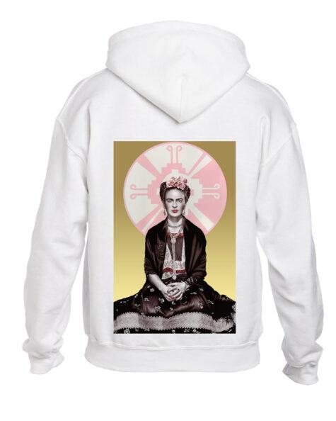 White Frida Kahlo Oversized Hoodie